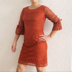 Dress Barn Crochet Lace Overlay Bell Sleeve Dress